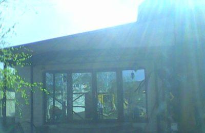 навес из поликарбоната 5 на 2 над террасой