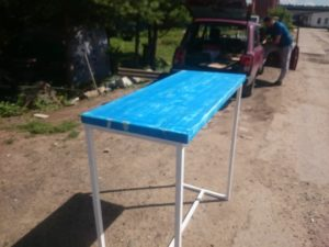 Loft стол синяя столешница