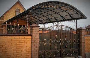 Кованный Дачный навес с воротами