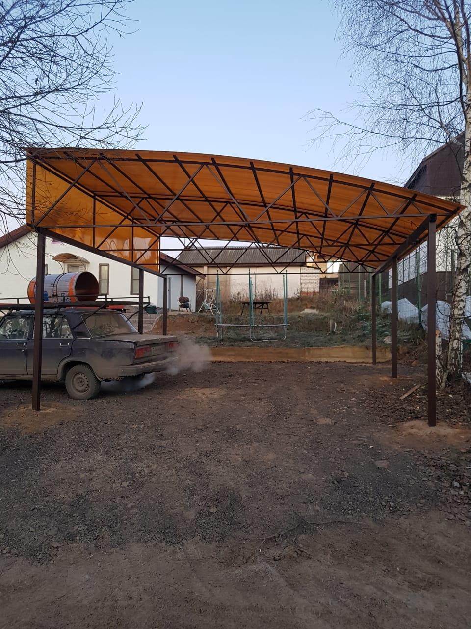 Односкатный арочный навес 5.4х6.3 35м2