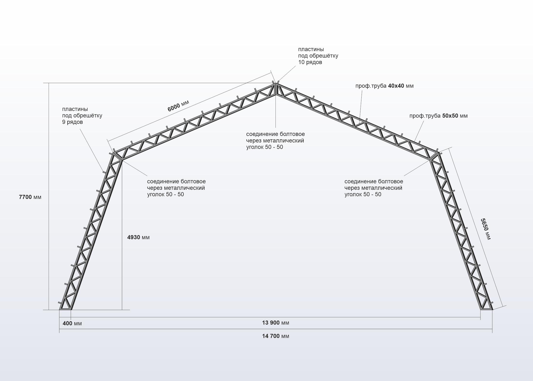Чертеж фермы шатрового ангара 15 м ширина