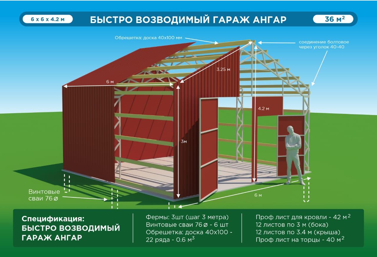 Схема чертеж постройки гаража металлического 6м